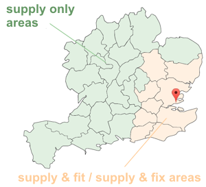 map showing suppply and fit areas; Essex, Hertfordshire, London, Middlesex, Kent, Surrey, Sussex, Suffolk and Cambridgeshire and additional supply only areas Bedfordshire, Berkshire, Buckinghamshire, Cheshire, Derbyshire, Devon, Dorset, Gloucestershire, Hampshire, Herefordshire, Leicestershire, Lincolnshire, West Midlands, Norfolk, Northamptonshire, Nottinghamshire, Oxfordshire, Rutland, Shropshire, Somerset, South Yorkshire, Staffordshire, Warwickshire, Wiltshire, Worcestershire